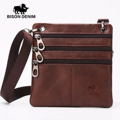 BISON DENIM mens zipper slim messenger bag handy shoulder bag brown soft genuine cowhide leather