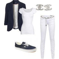 Navy and White, outfit, clothes, vans