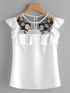 SheIn offers Flower Patched Dot Mesh Yoke Frill Cap Sleeve Top & more to fit your fashionable needs. Look Fashion, Girl Fashion, Fashion Outfits, Fashion Trends, Cap Sleeve Top, Cap Sleeves, Floral Tops, Frill Tops, Top 14