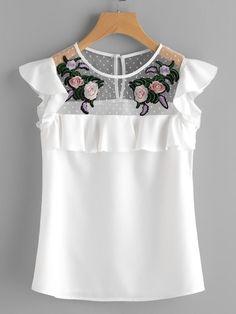65880f971205b Blusa Crepe, Blusa Bordada, Pantalones, Costura, Ropa De Moda, Camisetas,