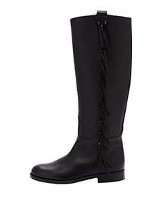 CYBLING Womens Faux Fur Mid Calf Riding Boots Stacked Block Heel Black Winter Boots