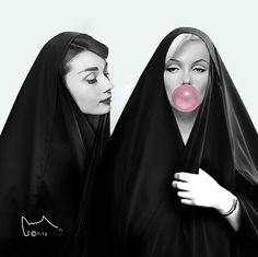 Audrey Hepburn and Marilyn Monroe Eid Photos, Dubai Fashionista, Pop Art, Eid Crafts, Iranian Art, Arabic Art, Islamic Art, Collage Art, Contemporary Art