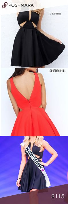 Sherri Hill Cocktail Dress worn once in Pageant🖤 Like new! Style SH-S50660! Beautiful little black dress! Fit and flare style with plunge v-neck with nude color net enclosure to hold in bust! Very sexy yet sweet! Perfect for Cocktail, homecoming, dances, and date nights! Sherri Hill Dresses Mini