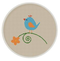 Bird with flower Cross Stitch Pattern, Cross Stitch Pattern, Needlepoint Pattern, cross stitch PDF birds on tree Cross Stitch Fabric, Cross Stitch Bird, Simple Cross Stitch, Cross Stitch Animals, Counted Cross Stitch Patterns, Cross Stitch Designs, Cross Stitching, Cross Stitch Embroidery, Needlepoint Patterns