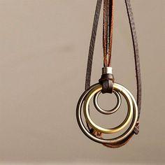 Vintage Three-Hoop Leather Necklace