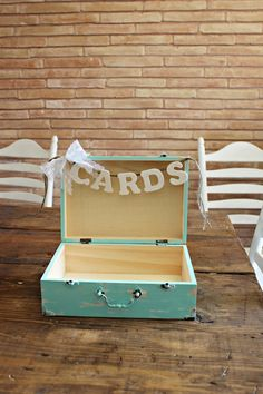 large wedding cards box . light mint green wooden wedding box . shabby chic rustic suitcase card holder