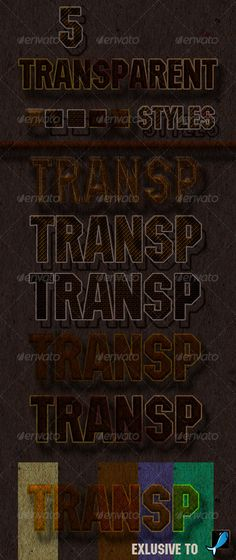 5 Transparent Styles by BazilioSlep - 5 Photoshop Styles Includes are 1 ASL File. Make Double Click In The 5 Photoshop Layer Styles ASL File And Go To The Style Pan Photoshop Text Effects, Photoshop Brushes, Photoshop Actions, Layer Style, Text Style, How To Make, Tags, Fonts, Creative