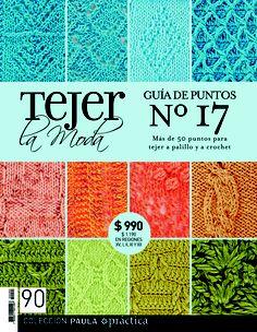 Guía de puntos nº17. Revista 90. Knitting Books, Crochet Books, Knitting Charts, Knitting Stitches, Baby Knitting, Knit Crochet, Knitting Magazine, Crochet Magazine, Crotchet Stitches