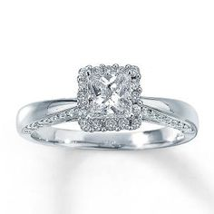 Princess Cut Diamond Engagement Ring in a gorgeous setting