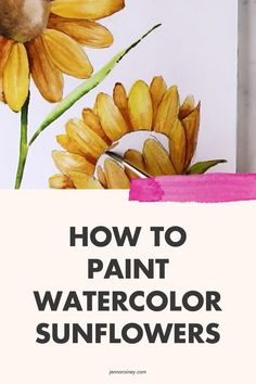 Here's how to paint watercolor sunflowers. I show you two different perspectives—front-facing and a side view.Now the varying perspectives and details on this one may look super advanced. But it's beginner-friendly, too! Why? Because I show you how to break it down into simple shapes. Watercolor Flowers Tutorial, Step By Step Watercolor, Watercolor Sunflower, Easy Watercolor, Watercolor Design, Watercolor Paintings, Painting Tutorials, Painting Tips, Sunflower Sketches