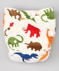 Take a look at this White Dinos Minky Pocket Diaper by Jungle Roo on #zulily today!