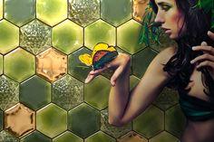 Komino ceramic feature wall tiles. #komino #tiles #green #wall tiles #gold