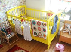 Thinking of revamping our cot, brown to yellow? Hmm