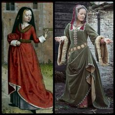Old and New : Left: detail of a miniature of Pauvrete begging from Richesse Harley, British Library 1490-1500. Rght: velvet early Tudor costume ca. 1500, made by Angela Mombers after patterns from: The Queen's Servants by the Tudor Tailor. Picture by Henk van Rijssen.