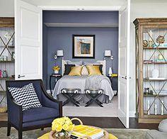 Navy, yellow + gray bedroom