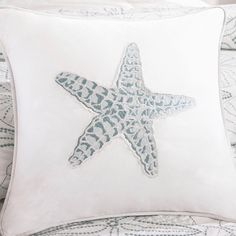 Harbor House Maya Bay Cotton Square Throw Pillow ($37) ❤ liked on Polyvore featuring home, home decor, throw pillows, white, harbor house, patterned throw pillows, square throw pillows, beach centerpieces and starfish throw pillows