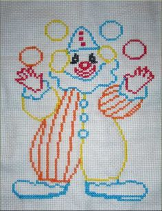 Χειροτεχνήματα: σχέδια με κλόουν για κέντημα / clown cross stitch ...