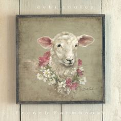 French Farmhouse Sheep with Floral Wreath available at www.debicoules.com