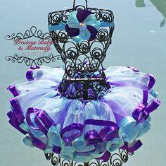 Purple & Blue with Satin Ribbon Trim   (matching flower)