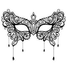 Elegant black lace masquerade mask isolated on white background. Vector illustration