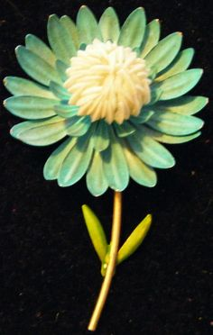 1960's Vintage Flower Power Turquoise and Cream by parkledge, $15.00