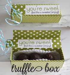 easy folded paper truffle box with printable template - cupcake box included too!