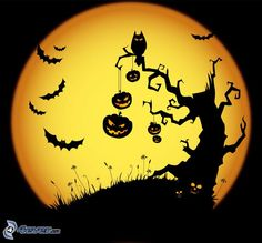 Halloween, geisterhaft Baum, Fledermäuse