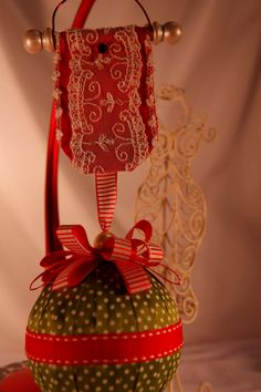 VICTORIaN CHRISTMaS TREE ORNaMENT HaNGER  Red by TheGoldenTurtle, $4.00