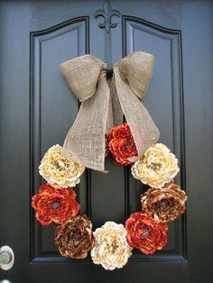 Wreaths for Fall, Wreaths, Fall Wreaths, Burlap Ribbon, Fall Decor, Front Door Wreaths, Holidays, Thanksgiving, Harvest, Autumn Colors via Etsy