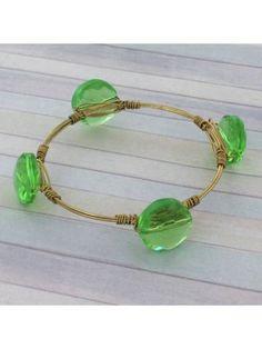 Handcrafted Mint Crystal Bead and Goldtone Wire Bangle #wiredbangle #baubles #designerinspired #baublesandbangles #wiredbracelet