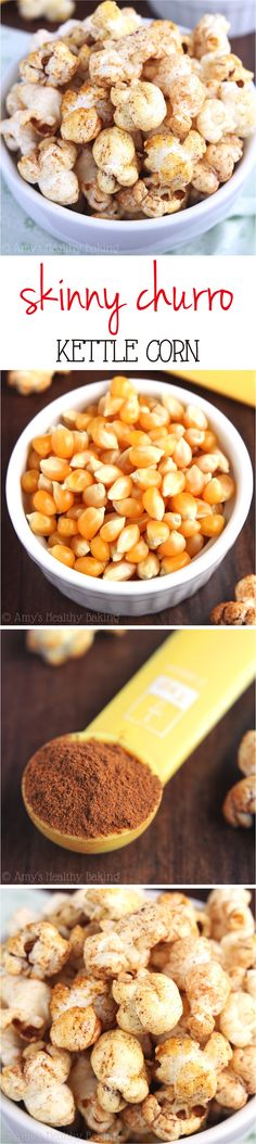 Skinny Churro Kettle Corn -- you only need 5 ingredients & a pot to make this easy treat at home! Barely 100 calories in each big serving!