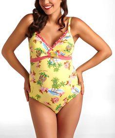Look what I found on #zulily! Yellow Waikiki Maternity One-Piece #zulilyfinds