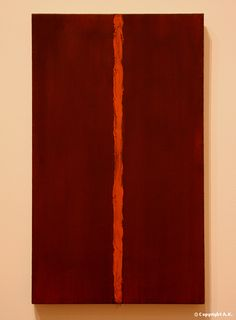 """Barnett Newman  Painting: Onement I  The Museum of Modern Art, New York.    """" I feel that my zip does not divide my paintings…it does the exact opposite,: it unites the thing. It creates a totality."""""""