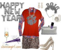 Clemson Girl Gameday Look - Sparkle and shine on New Year's Eve Merry Christmas Eve, Christmas Tree, Clemson Tigers, Tailgating, New Years Eve, My Girl, Sparkle, Orange, Fashion