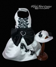 Couture Formal White Dog Dress Black Trim by tinypawscouture, $125.00