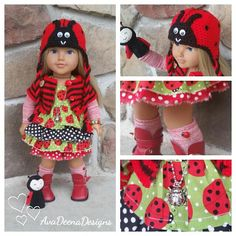 Ladybug complete outfit clothes for 18 inch doll american girl
