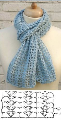 Crochet Lace Scarf, Puff Stitch Crochet, Crochet Shawls And Wraps, Crochet Chart, Love Crochet, Crochet Scarves, Crochet Motif, Crochet Clothes, Crochet Stitches