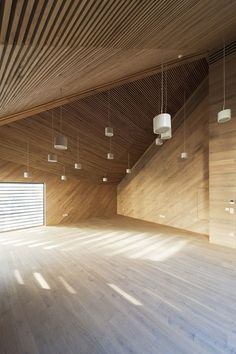 """futureproofdesigns: """" Budapest Music Center, Interior of the Corner Conference Room Design Studio, photography by Tamás Bujonovszky 2013 """" Budapest, Wood Architecture, Architecture Details, Public Architecture, Design Studio, Plafond Design, Empty Room, Interior Exterior, Ceiling Design"""