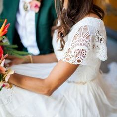 modest wedding dress with short sleeves from alta moda bridal.  photo by castleberry photography