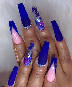 Best Nail Art - 21 Unique Best Nail Art for 2019 - cuteacrylicnails Dark Blue Nails, Blue Coffin Nails, Blue Acrylic Nails, Marble Nails, Royal Blue Nails, Bright Nails, Blue Nail Designs, Acrylic Nail Designs, Blue Nails With Design