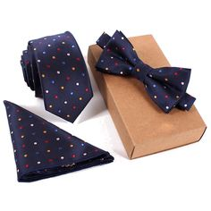 3-in-1 Suit accessory set,colorful dots tie+pocket square+bow tie set,polyester #Unbranded