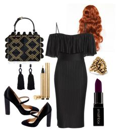 """Black posh Redheads only"" by mltsva ❤ liked on Polyvore featuring Givenchy, Betsey Johnson, Smashbox, Yves Saint Laurent and Oscar de la Renta"