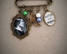 Votes For Women / Susan Anthony Brooch / Bag Pin. Handmade, Unique (FREE or LOW COST shipping)