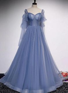 Prom Outfits, A Line Prom Dresses, Mode Outfits, Princess Prom Dresses, Unique Prom Dresses, Tulle Prom Dress, Blue Quinceanera Dresses, Ball Gown Prom Dresses, Masquerade Ball Dresses