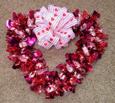 Heart Candy Wreath Valentine Red Edible by CandyWreathsbyCarla