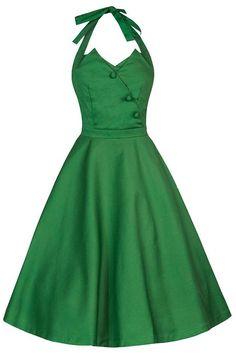 Lindy Bop 'Myrtle' Chic Vintage 1950's Dos Nu Robe évasée Partie Dress (40, Vert)