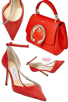 Jimmy Choo Talika Mandarin-Red Suede Sandals with Crystal Chain & Madeline Mandarin Red Goat and Calf Leather Top Handle Bag with Crystal Buckle #brilliantluxury Jimmy Choo Shoes, Suede Sandals, Red Lipsticks, Pumps, Heels, Red Shoes, Calf Leather, Red Color, Goat