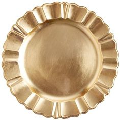What's the easiest way to turn any meal into a special occasion? Add a charger. This one, for example, with its textured scalloped edges and shimmery, golden-foiled finish. Like all metallics, it adds instant glam and pairs well with a variety of dinnerware. Including yours, of course.