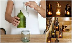 How to Cut Wine Bottle with String and Nail Polish Remover #diy, #recycle, #homedecor