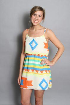Aztec Fever Dress: Neon
